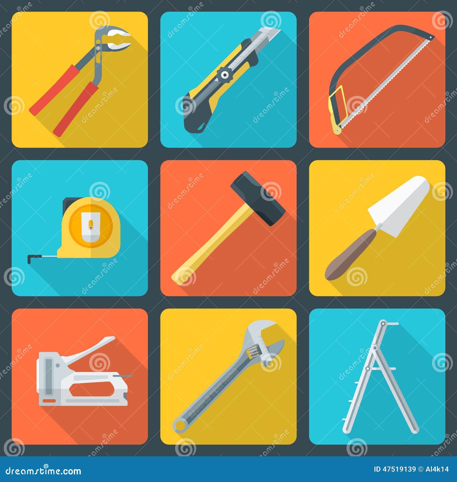 La casa plana remodela iconos de las herramientas