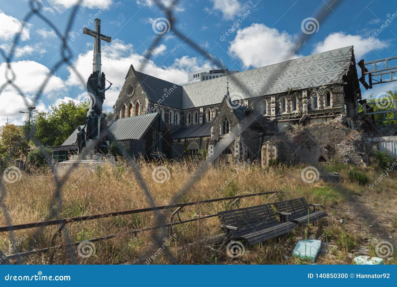 La catedral de Christchurch del anglicano en el centro de la ciudad de Christchurch, isla del sur de Nueva Zelanda