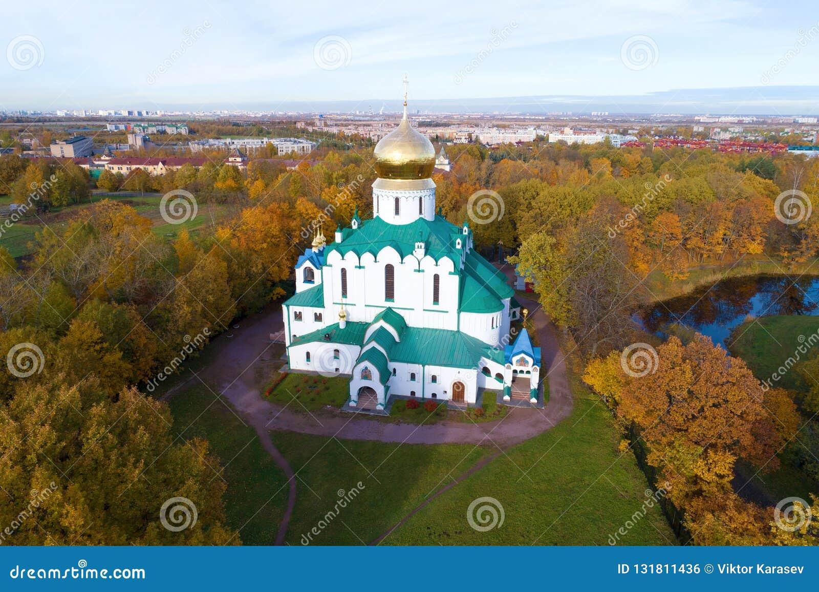 La cattedrale di Fedorovsky, fotografia aerea di sera di ottobre Tsarskoye Selo