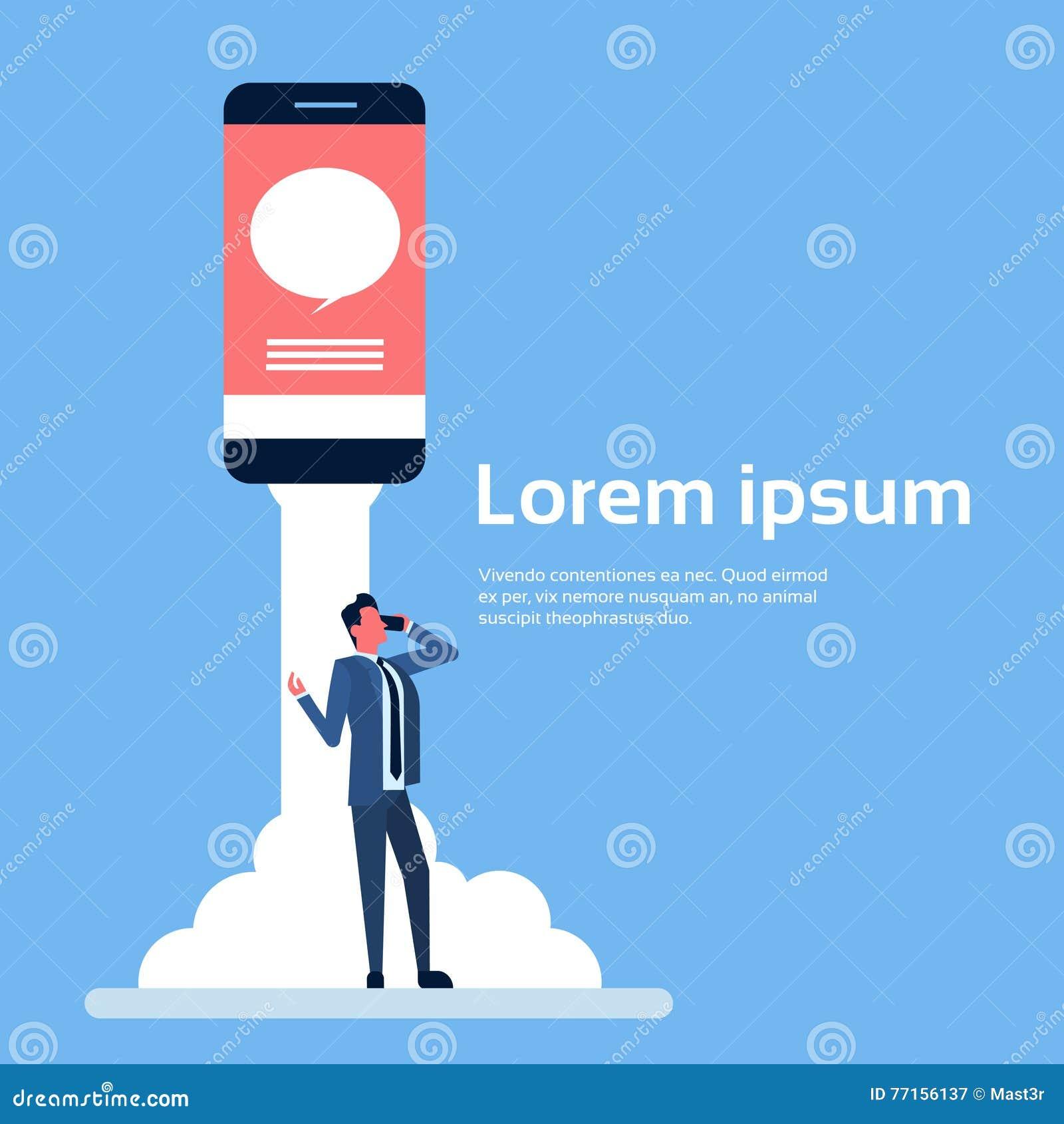 La causerie d homme d affaires parlent le téléphone intelligent de cellules mobiles