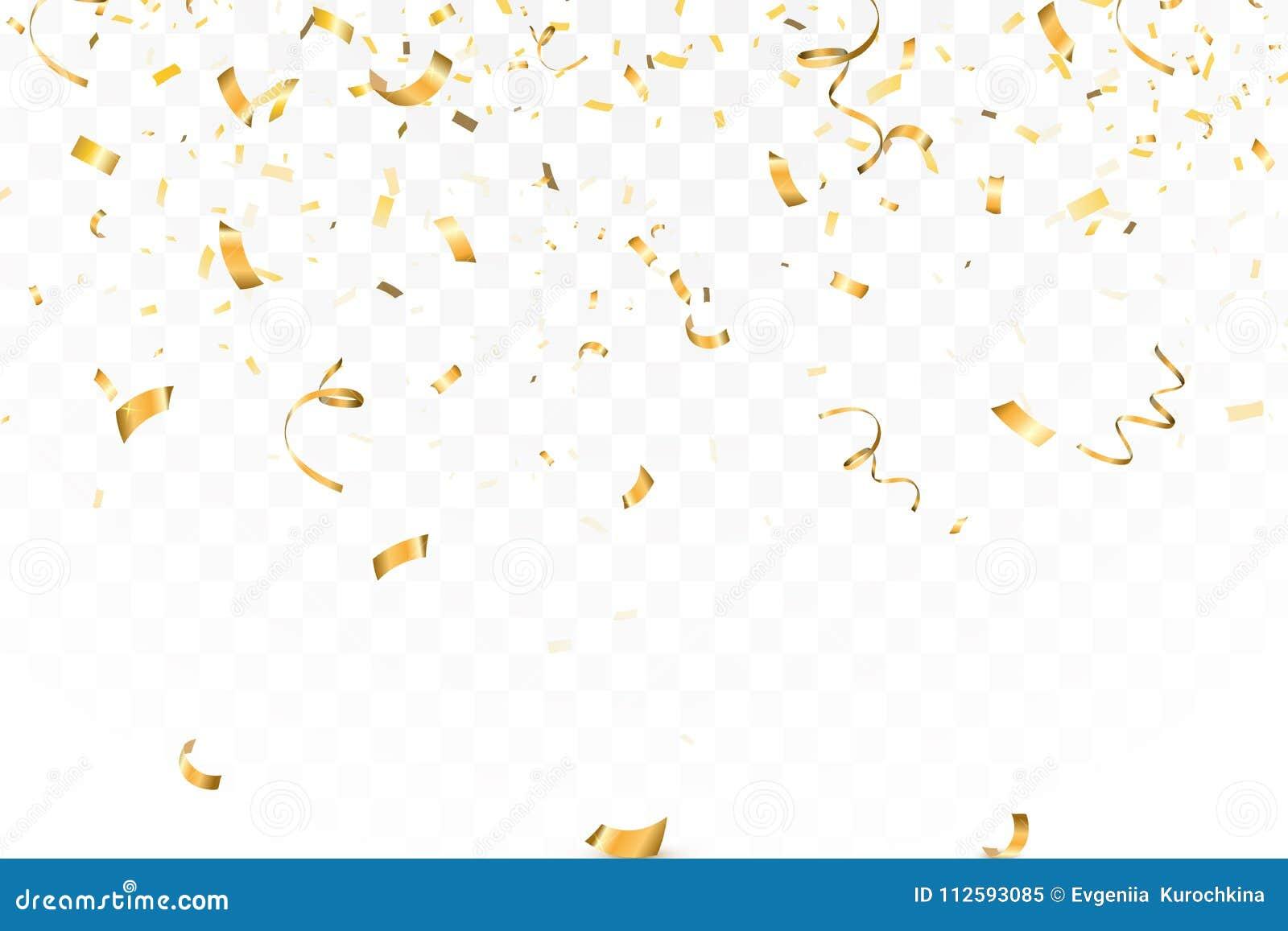 La celebración brillante descendente del confeti del brillo del oro, serpentea aislado en fondo transparente Año Nuevo, cumpleaño