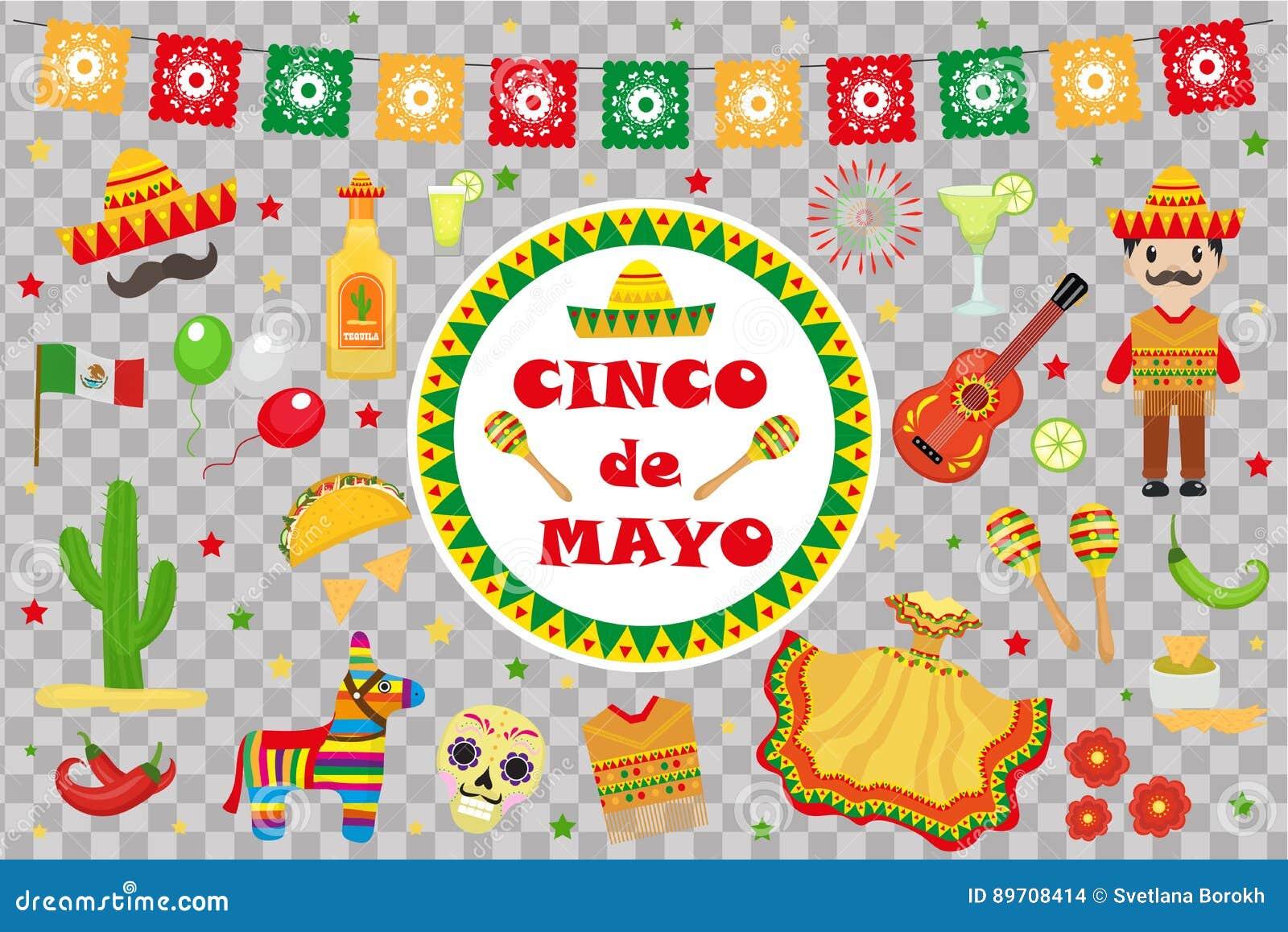 La celebración de Cinco de Mayo en México, iconos fijó, elemento del diseño, estilo plano Objetos collectiones para el desfile de