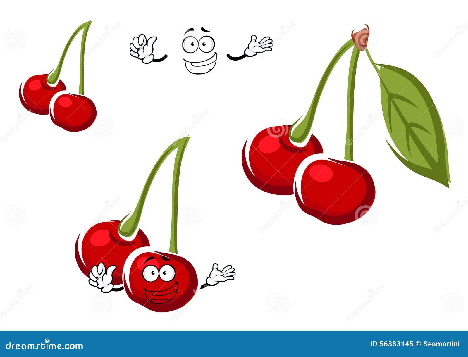 La cerise rouge porte des fruits personnage de dessin - Dessin de cerise ...