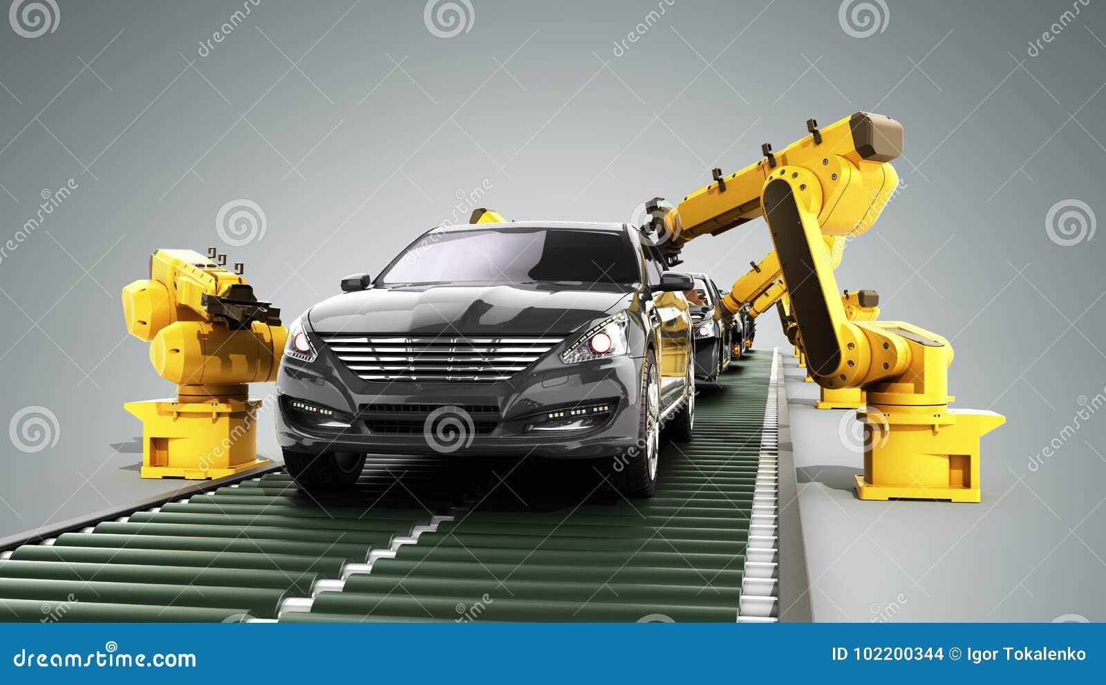 la cha ne de montage de robot dans l 39 usine 3d de voiture rendent sur le gris illustration stock. Black Bedroom Furniture Sets. Home Design Ideas