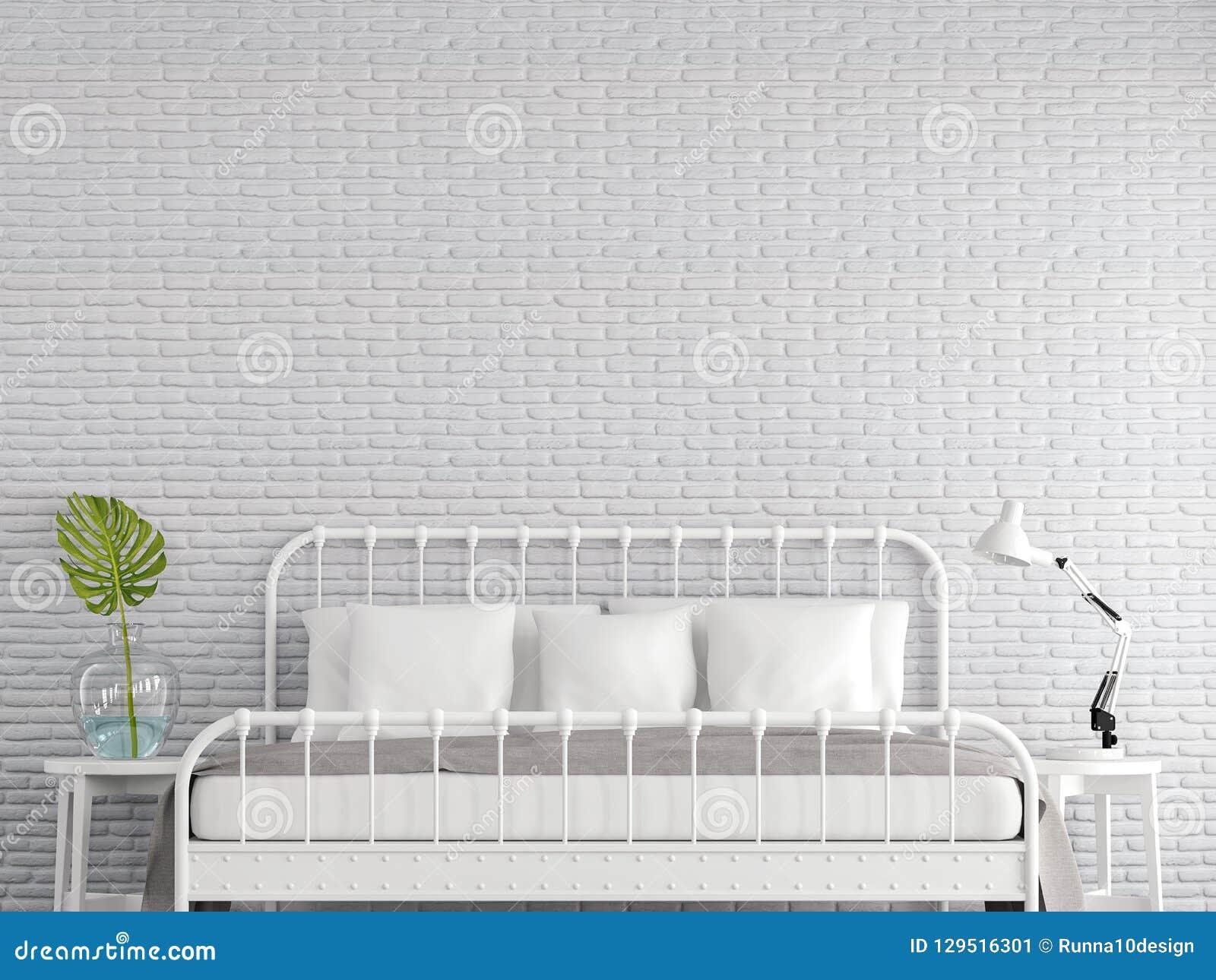 La Chambre A Coucher De Vintage Avec Le Mur De Briques Blanc 3d