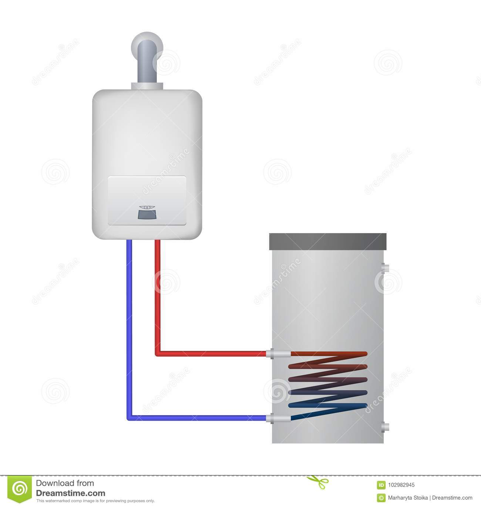 Une Chaudière À Condensation la chaudière de condensation chauffe l'eau pour le réservoir