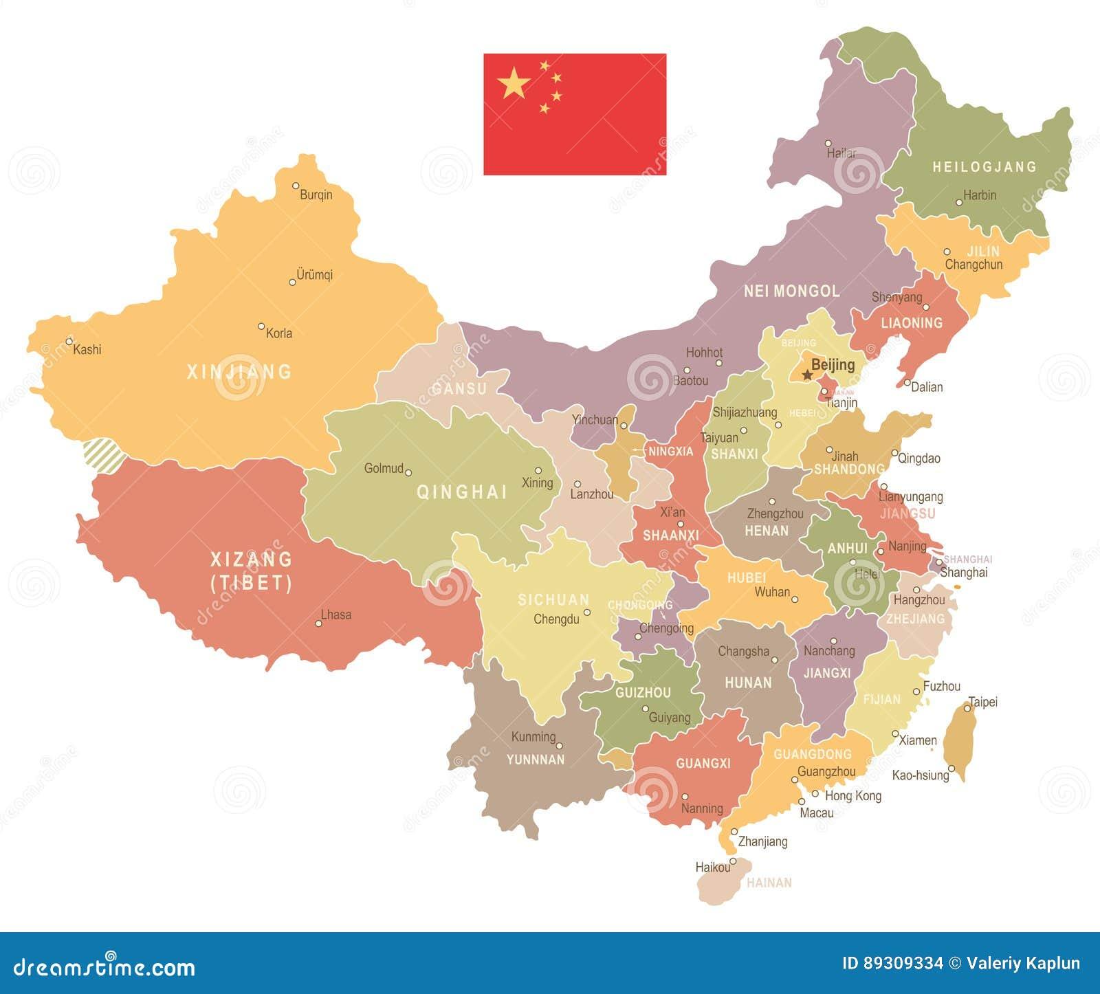 Carte Chine Hunan.La Chine Carte Et Drapeau De Vintage Illustration Illustration