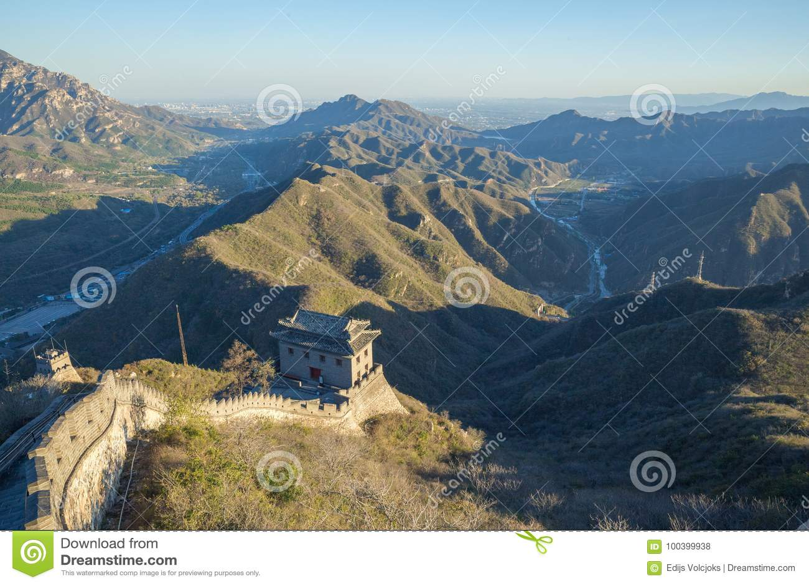La Chine, Pekin, mur de la Chine, coucher du soleil, histoire 2016