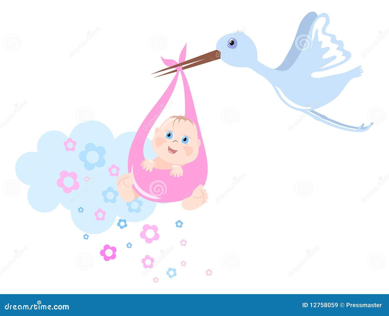 La Cicogna Porta Il Bambino Illustrazione Di Stock