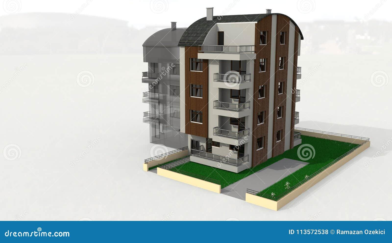 La cinq-histoire de Tonos a couvert le travail architectural, le rendu 3d