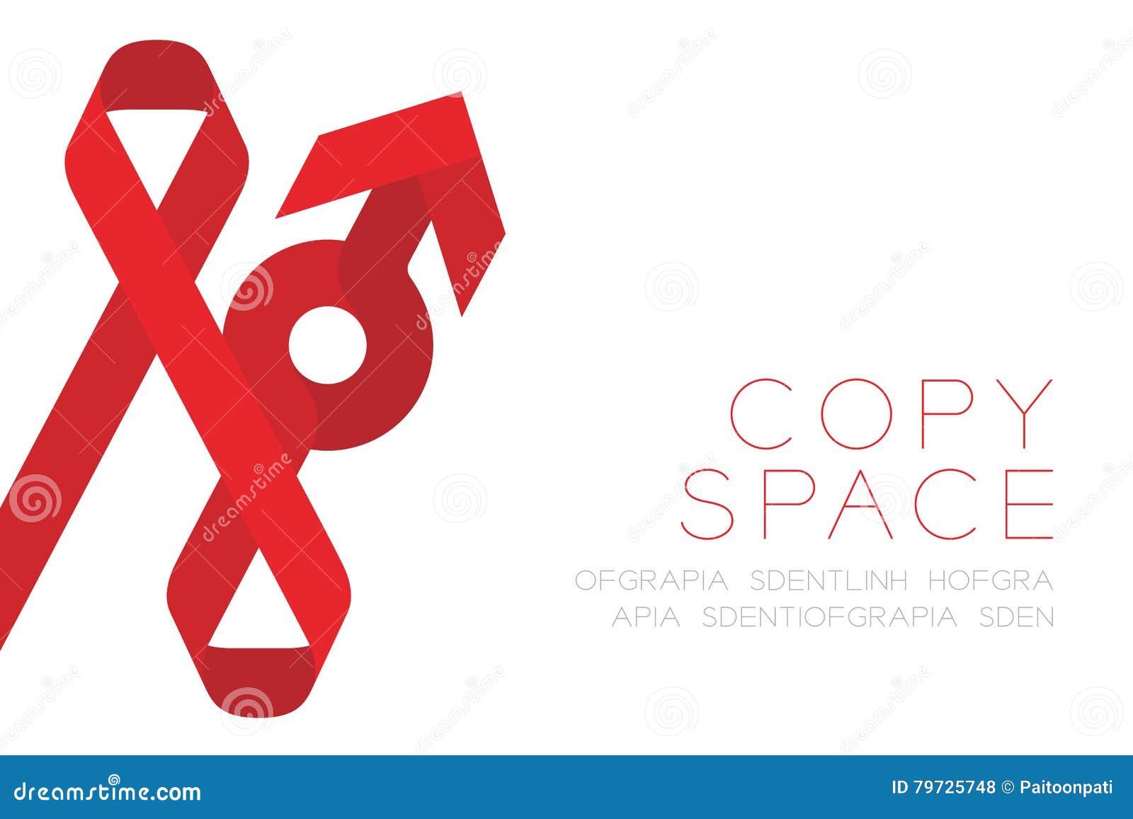 La cinta roja diseño plano del color del icono de la muestra AYUDA, del VIH y del varón