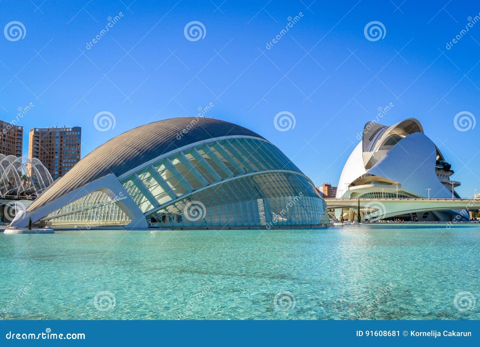 La città delle arti e delle scienze, Valencia, Spagna - il Hemisferic e Palau de les Arts