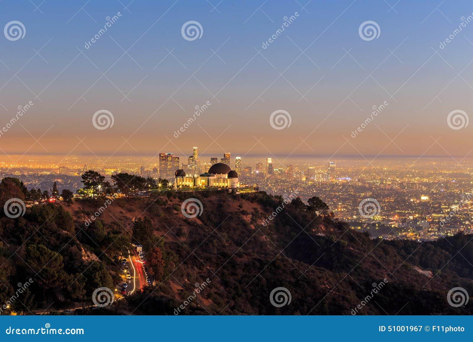 La città di Los Angeles e di Griffith Observatory