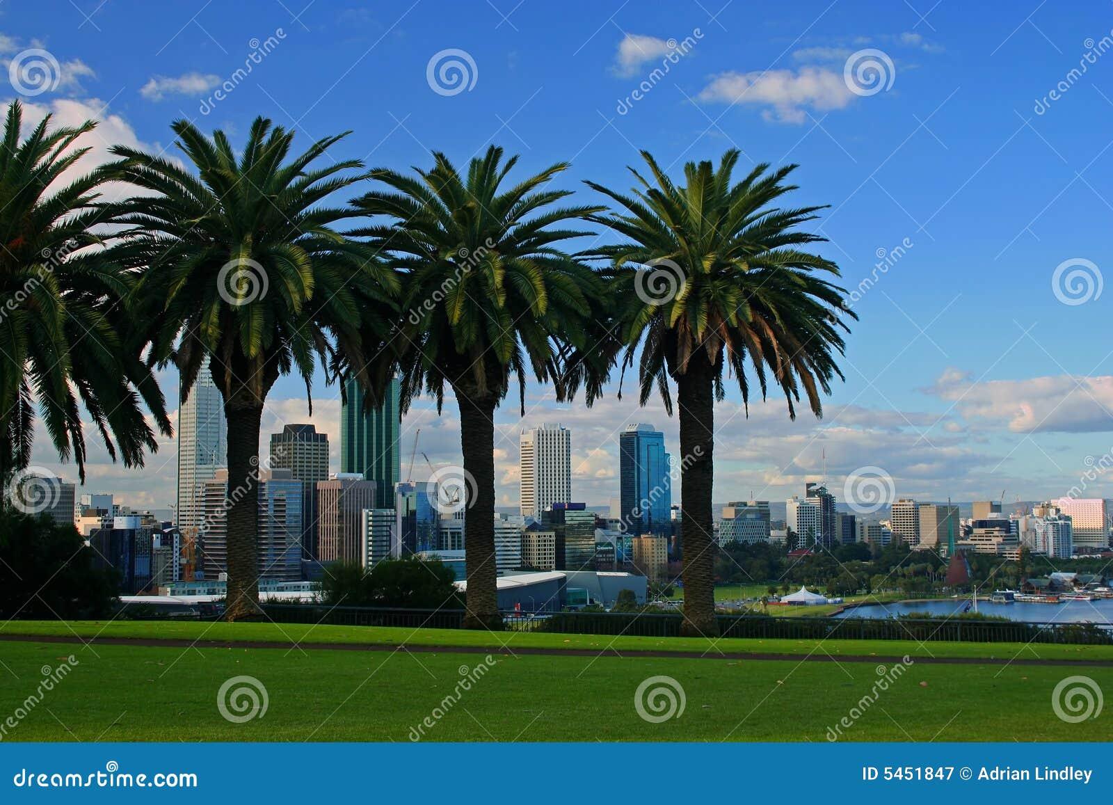 La città di Perth, Australia occidentale dai re Park con il fiume del ...