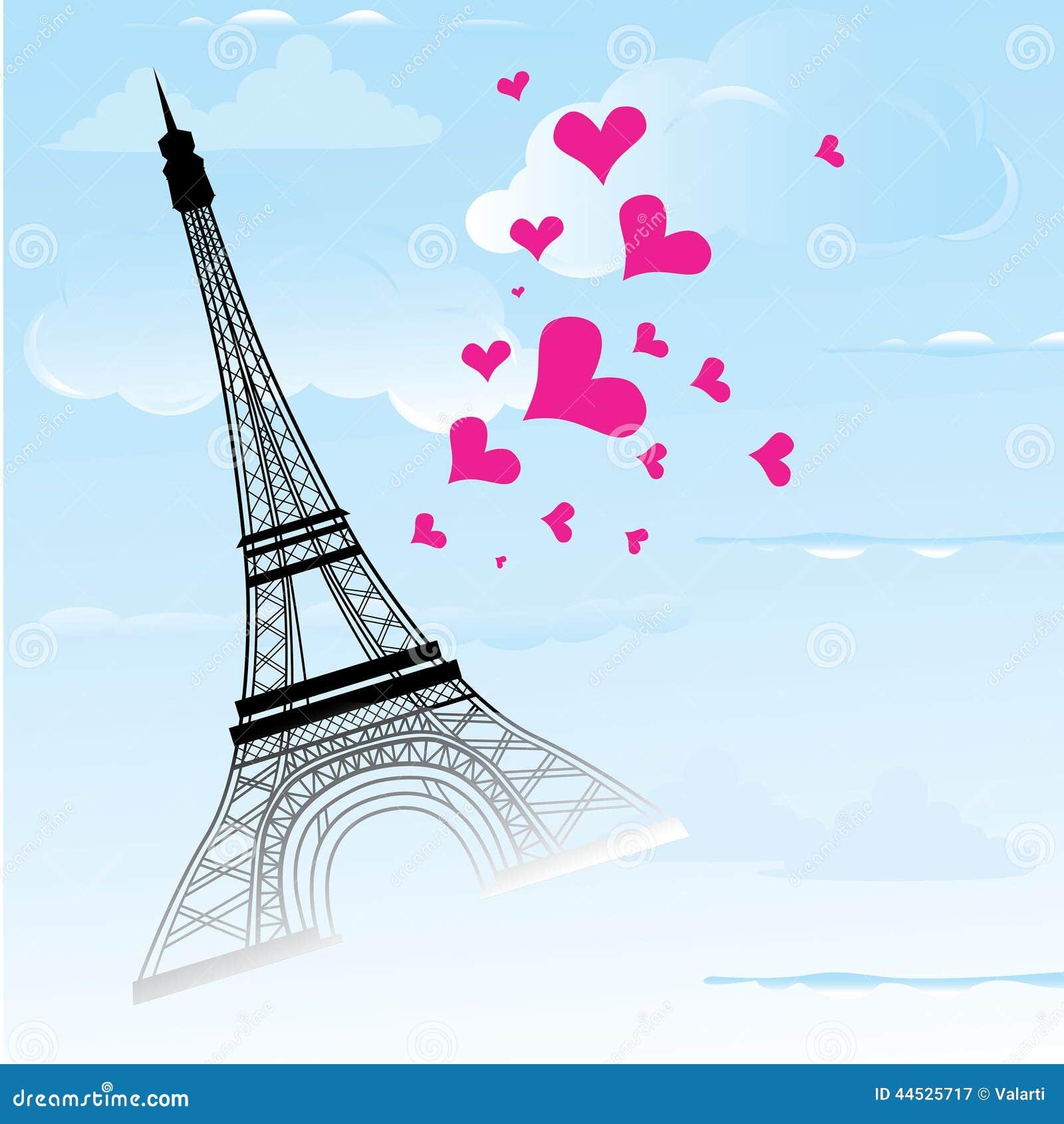 La ciudad de París en la tarjeta de Francia como amor y romance del