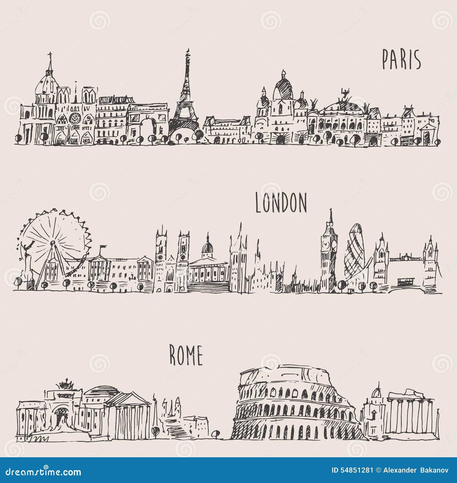 La ciudad Londres determinado, París, Roma grabó el ejemplo