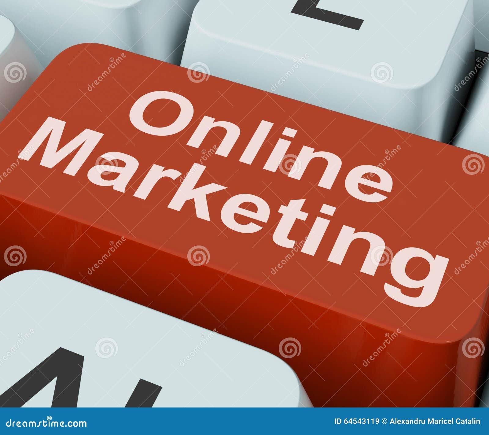 La clé de marketing en ligne montre le Web Emarketing et les ventes