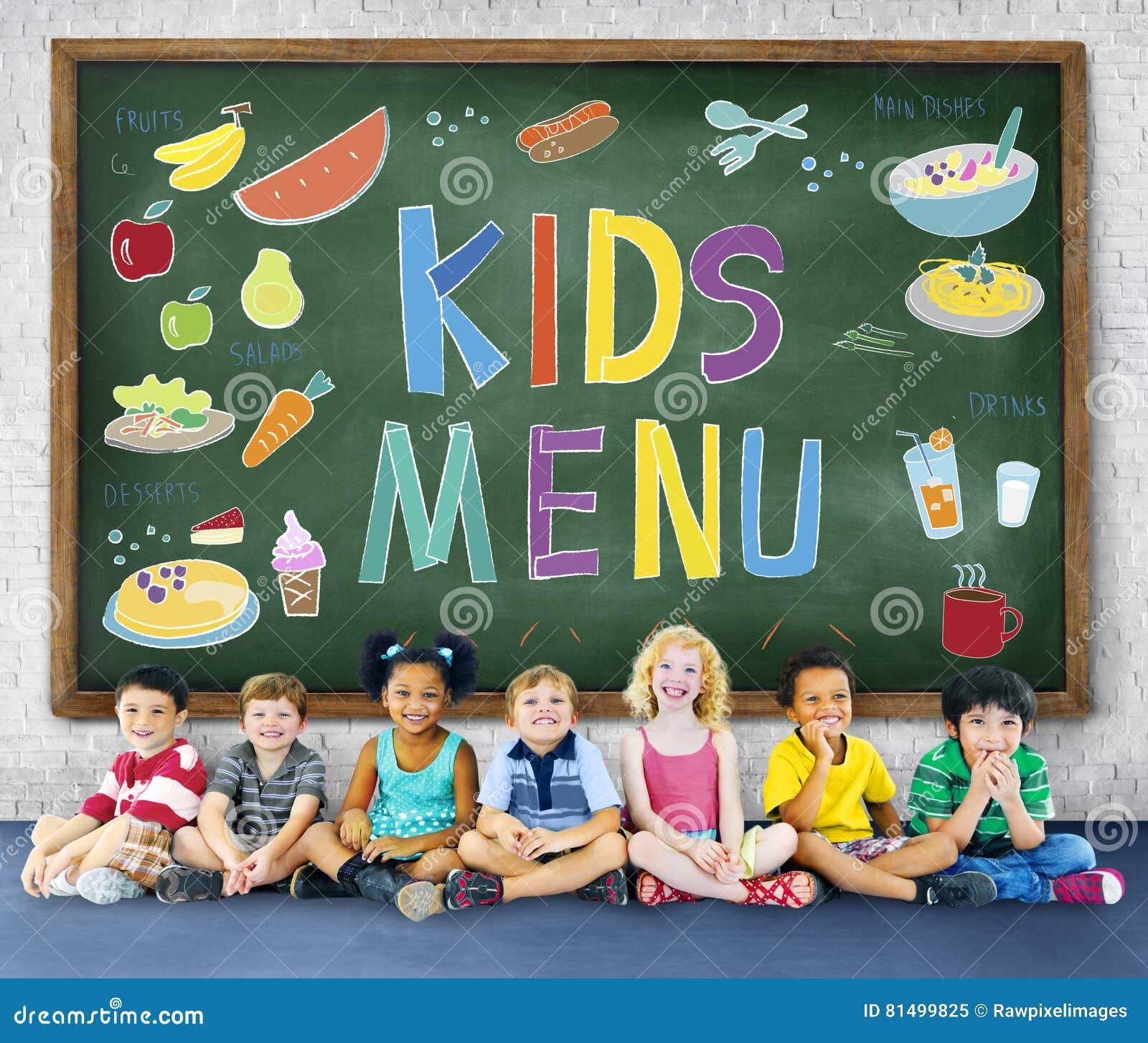 La cocina del menú de los niños sirve concepto de la comida