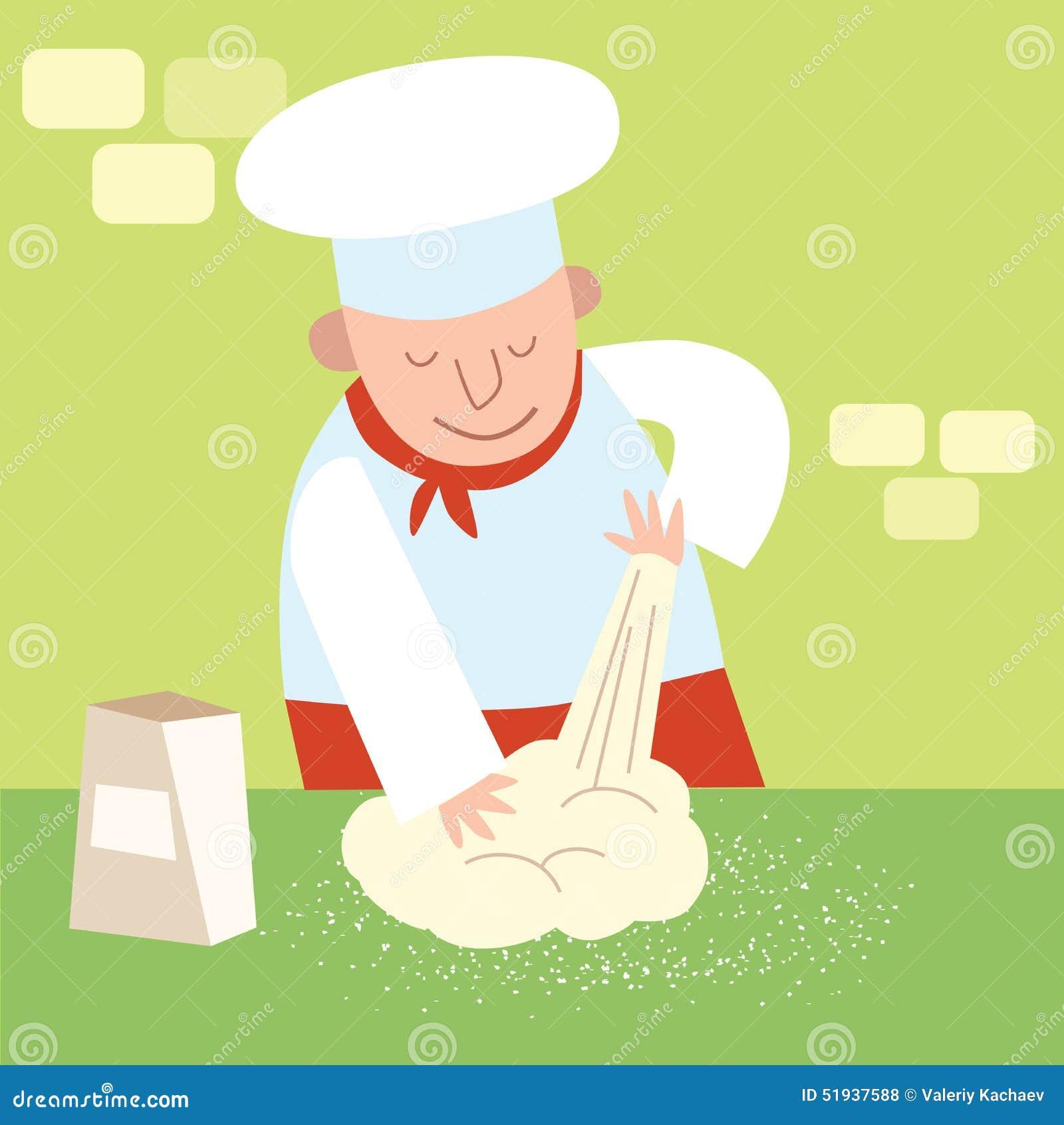 La cocina del restaurante del cocinero amasa la pasta - La cocina del 9 ...