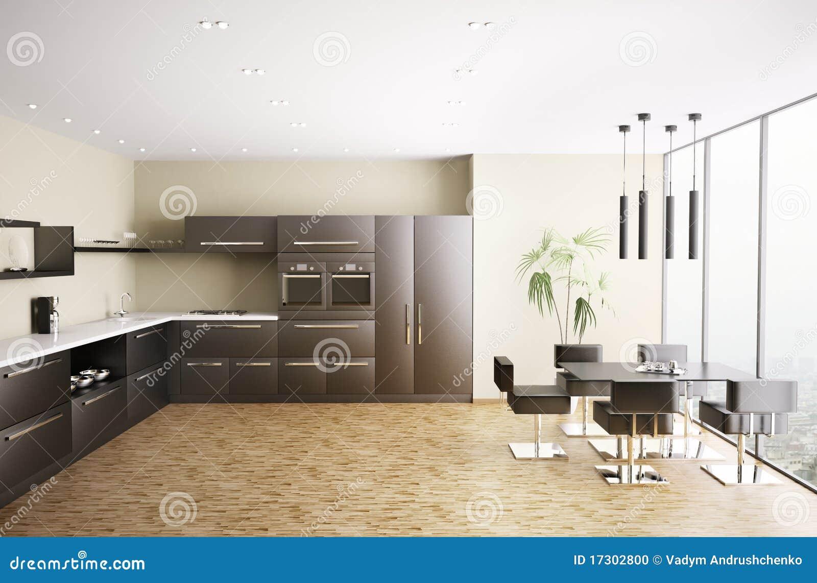 La cocina moderna 3d interior rinde stock de ilustraci n - La cocina moderna ...