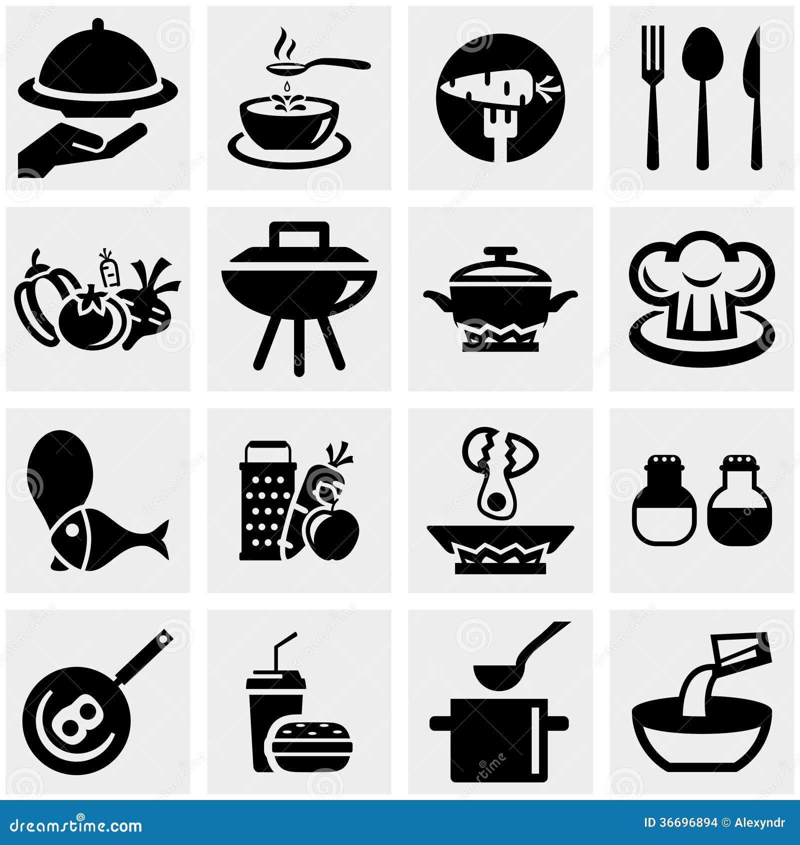 La Cocina Y Cocinar Iconos Del Vector Fijaron En Gris