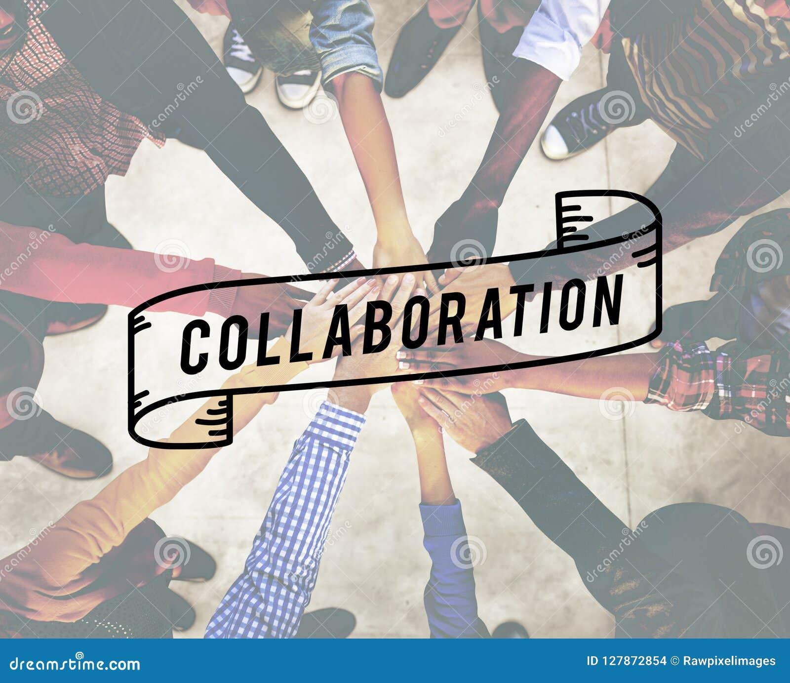 La colaboración colabora concepto corporativo de la conexión