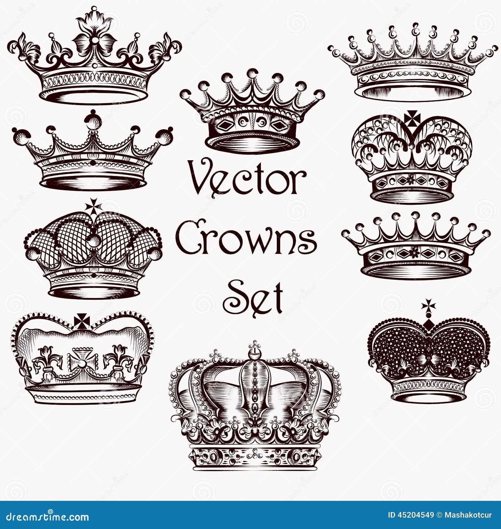 La Colección De Mano Del Vector Dibujada Corona Para El Diseño