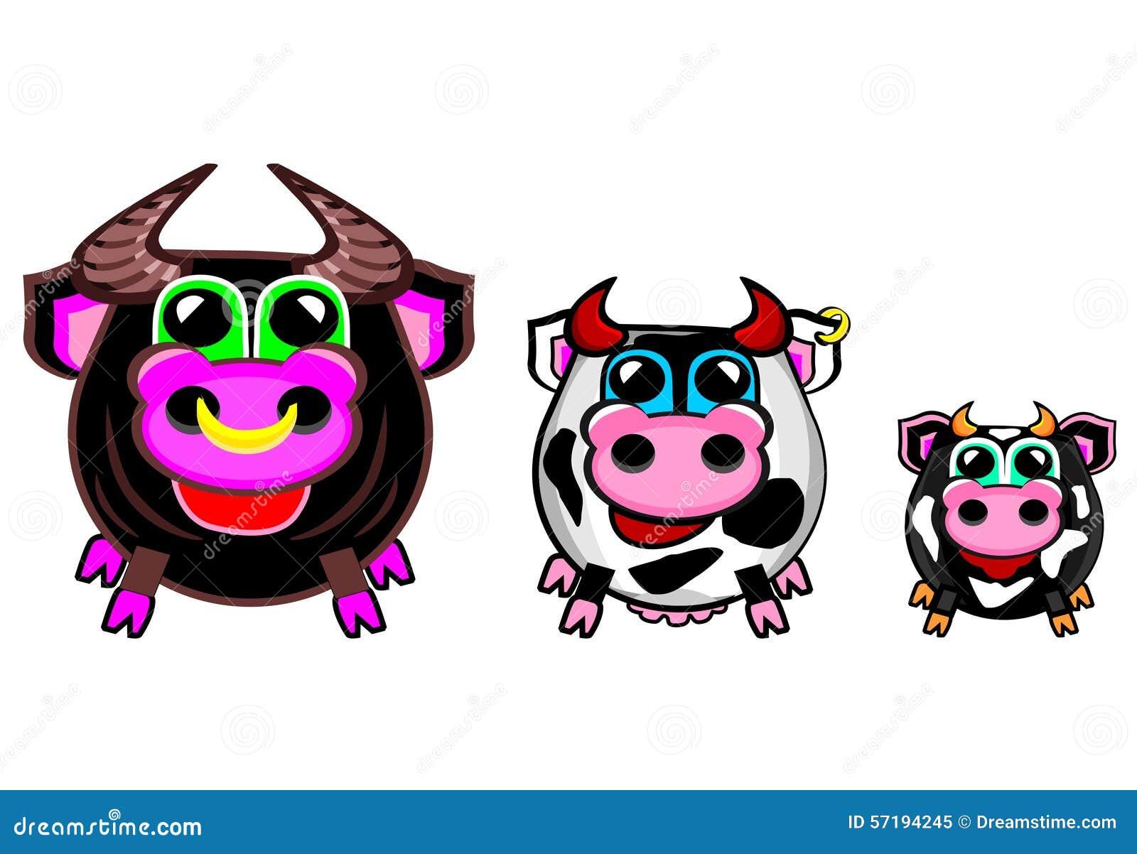 La Colección Del Granjero Vacas Stock De Ilustración Ilustración