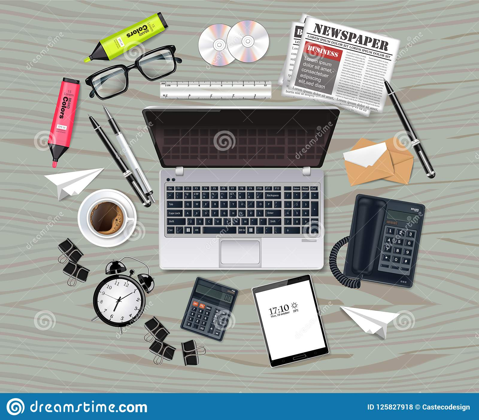 La colección determinada del negocio del ordenador portátil y de los materiales de oficina Vector realista Los vidrios, bolso, ar