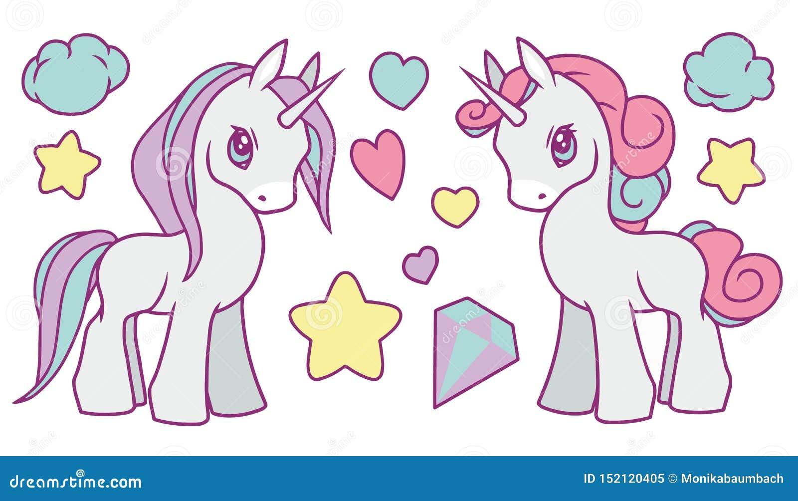 La colección linda del vector fijada con el arco iris en colores pastel coloreó los unicornios, las estrellas, el diamante, las n