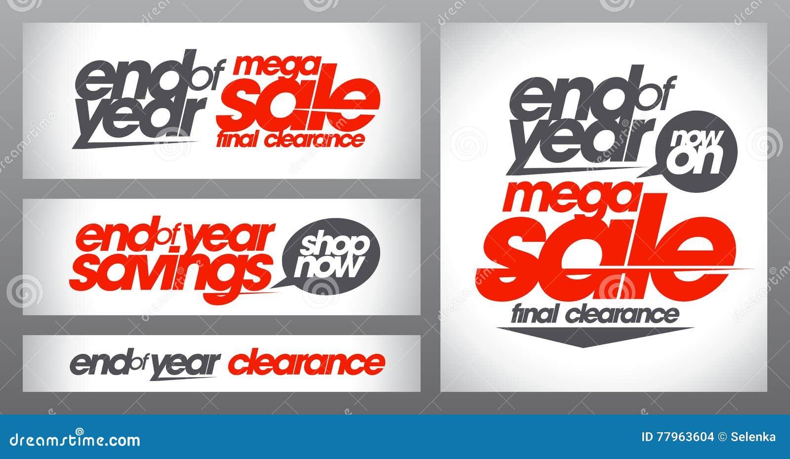 La colección mega de los carteles de la venta, las banderas de final de año de los ahorros fijó, liquidación final