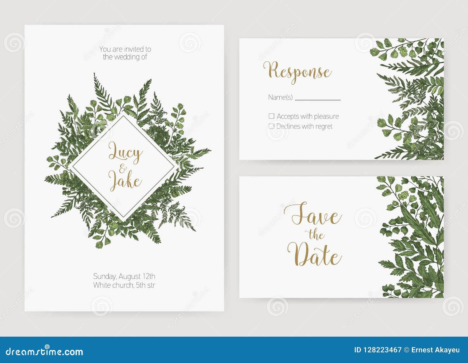 La collection de l invitation romantique de mariage, sauvent les calibres de carte de date et de réponse décorés des fougères ver