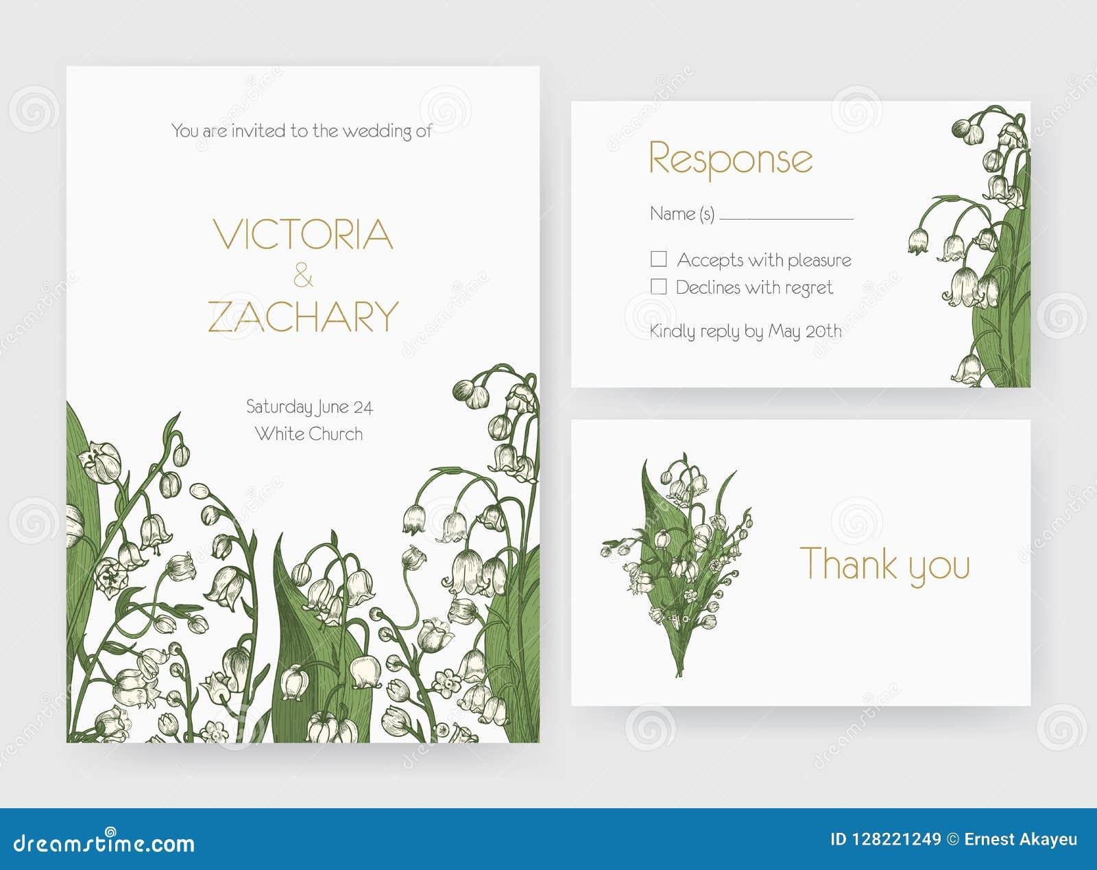 La collection de l invitation romantique de mariage, sauvent les calibres de carte de date et de réponse décorés du lis sauvage d