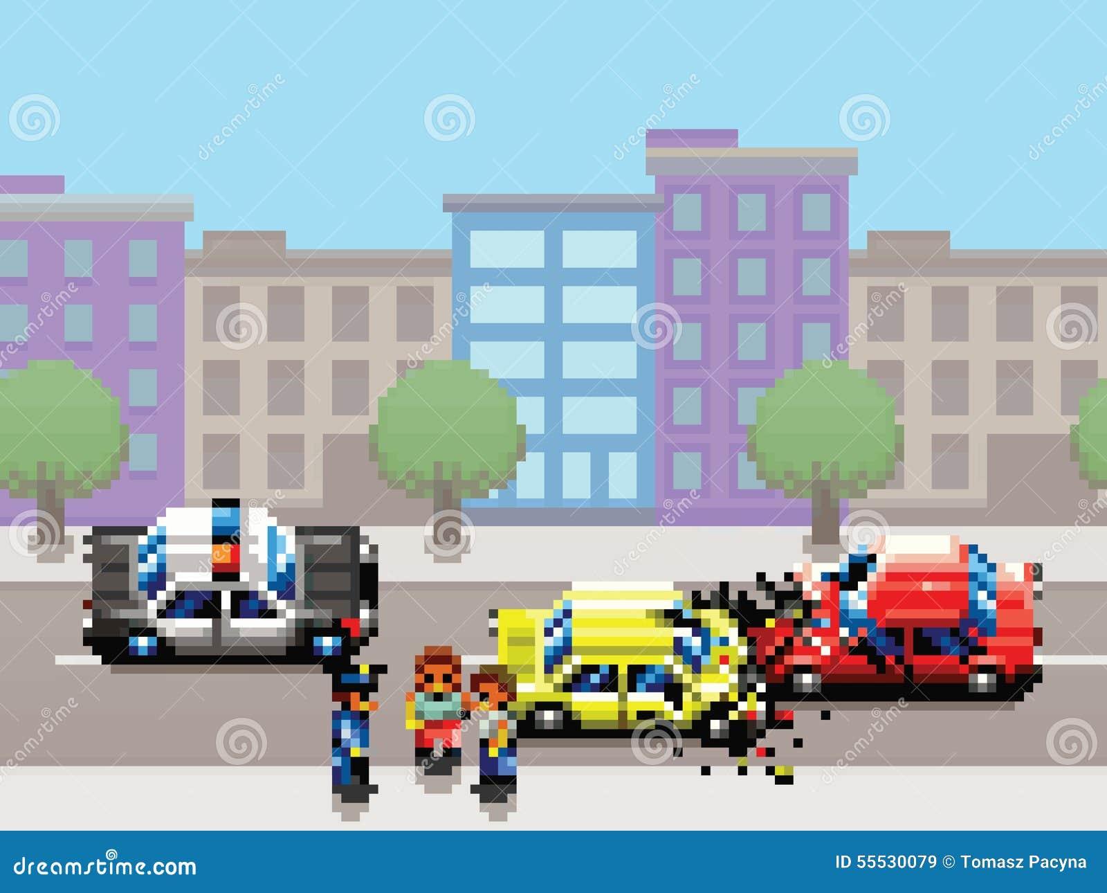 la collision de voiture de ville la voiture de police et le jeu d 39 art de pixel de personnes. Black Bedroom Furniture Sets. Home Design Ideas
