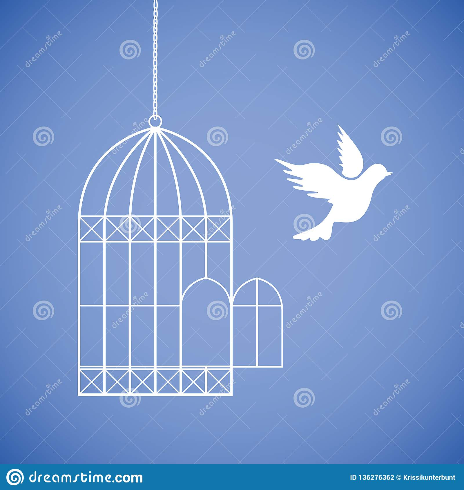 La colombe blanche vole hors de la cage