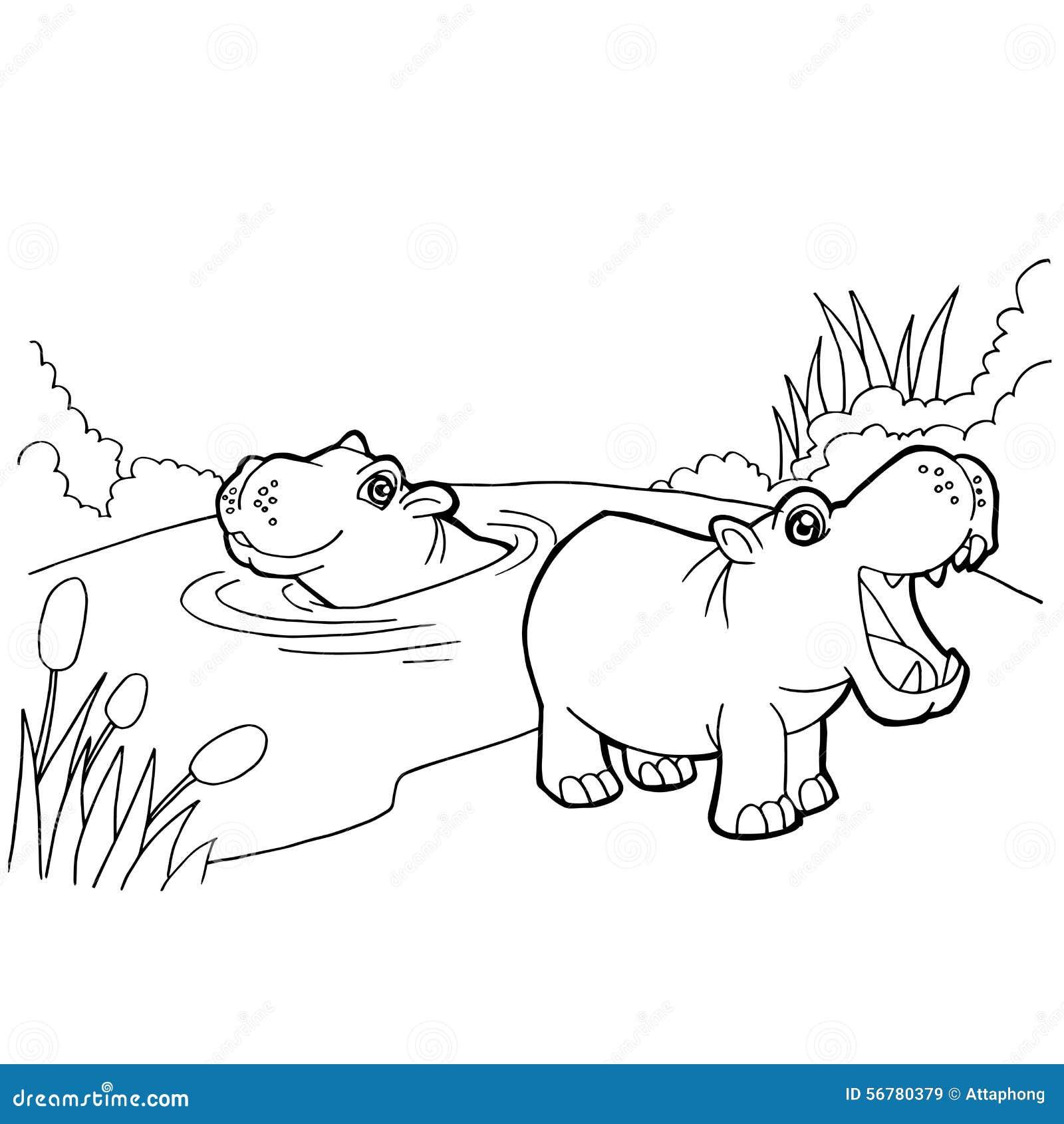 La coloritura del fumetto dell ippopotamo impagina il vettore