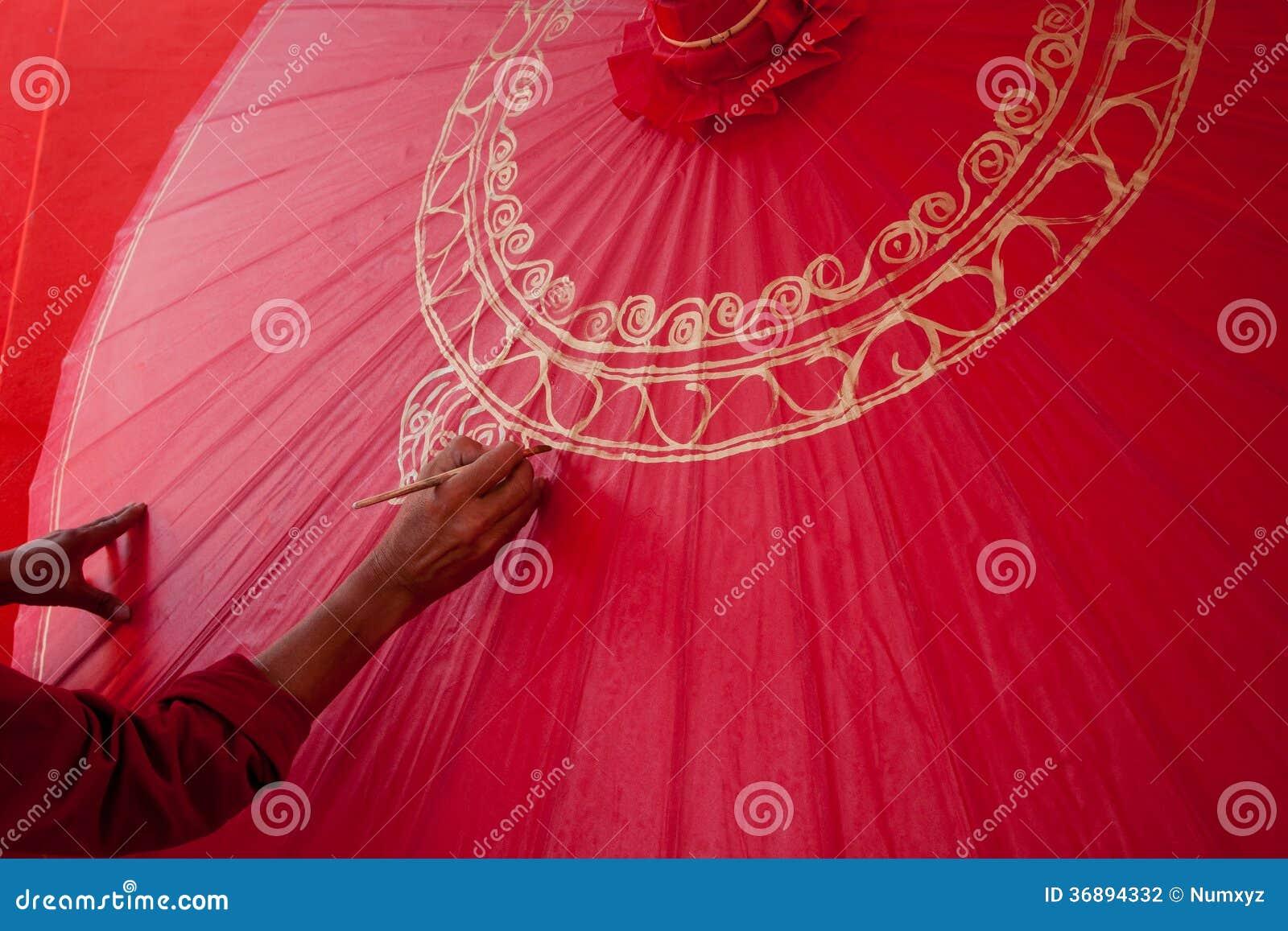 Download La Coloritura Dipinge L'ombrello Fatto Di Carta/di Tessuto. Arti E Fotografia Stock - Immagine di disegno, esotico: 36894332