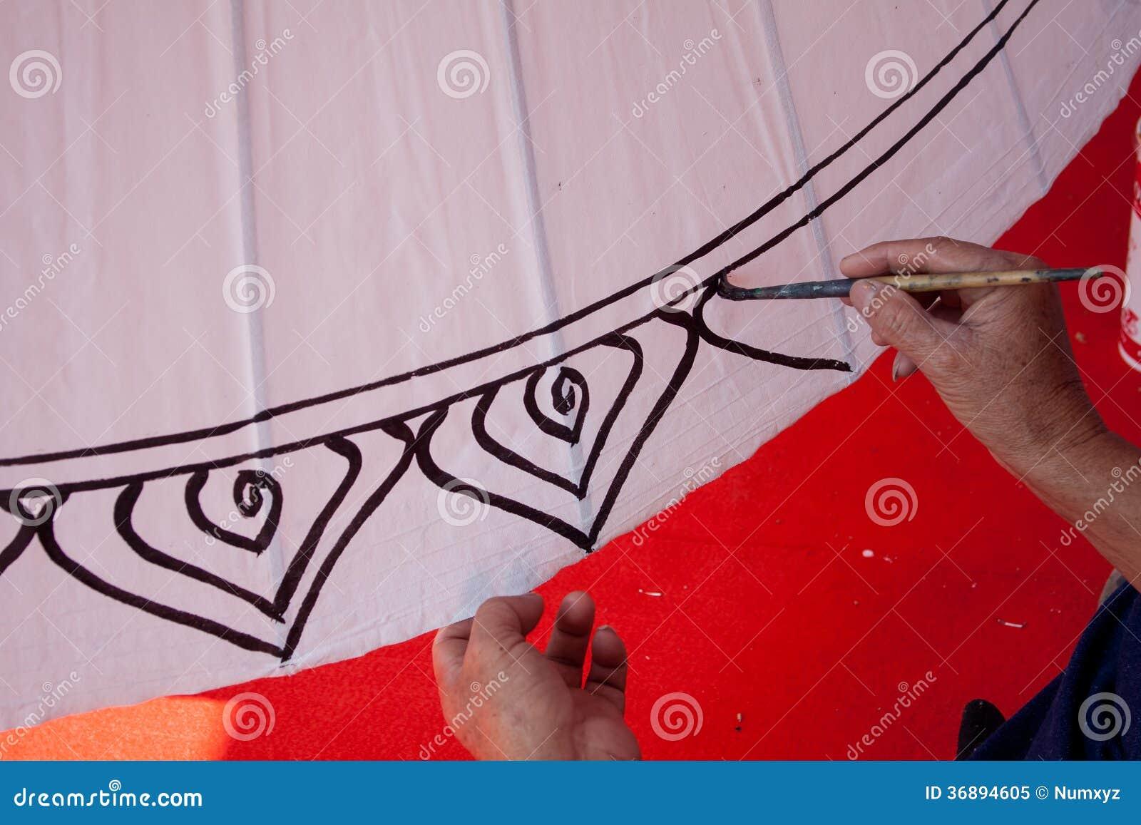 Download La Coloritura Dipinge L'ombrello Fatto Di Carta/di Tessuto. Arti E Immagine Stock - Immagine di colore, particolare: 36894605