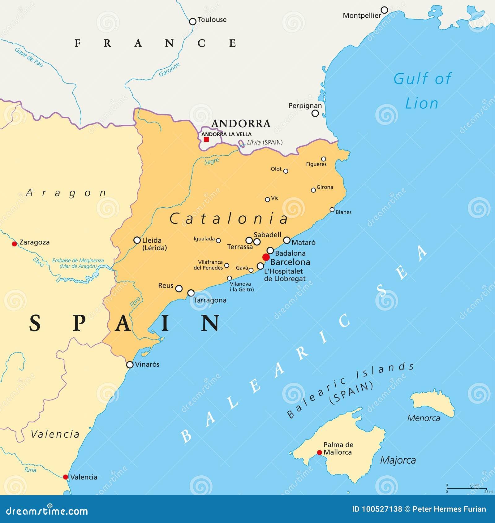 Carte De Lespagne Barcelone.La Communaute Autonome De La Catalogne De La Carte Politique De L