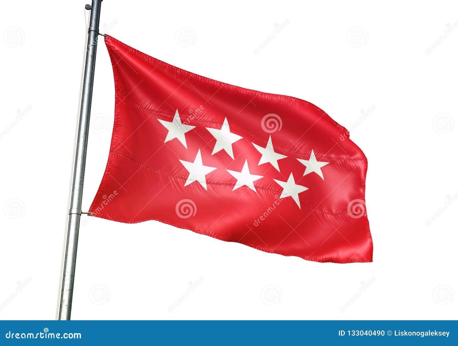 La Communauté de Madrid de l ondulation de drapeau de l Espagne d isolement sur l illustration 3d réaliste de fond blanc