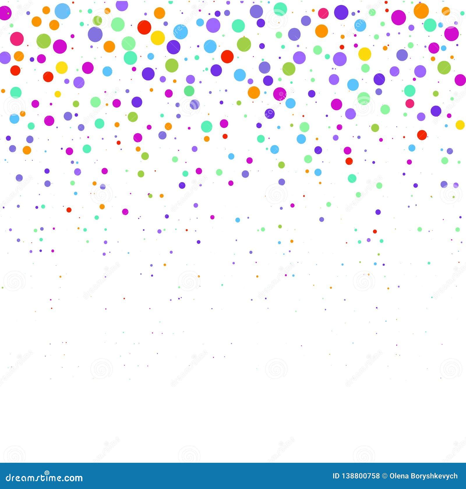 La composición de puntos multicolores en el fondo blanco