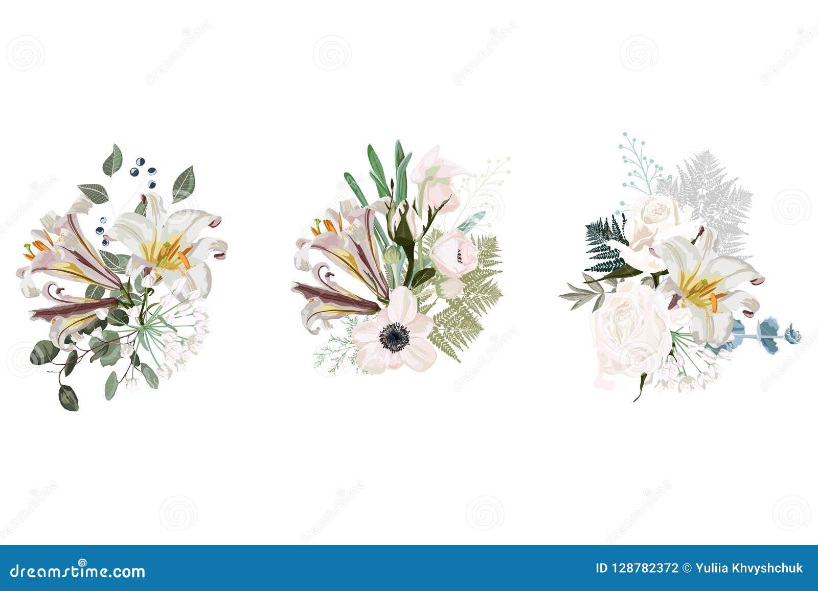 La composición floral de la tarjeta de la primavera fijó para el diseño gráfico del cartel con las rosas, anémonas, lirios blanco