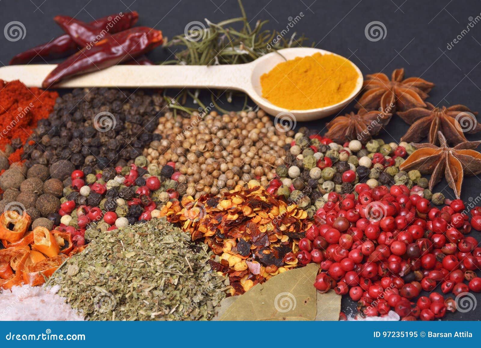 La composition avec différentes épices et herbes