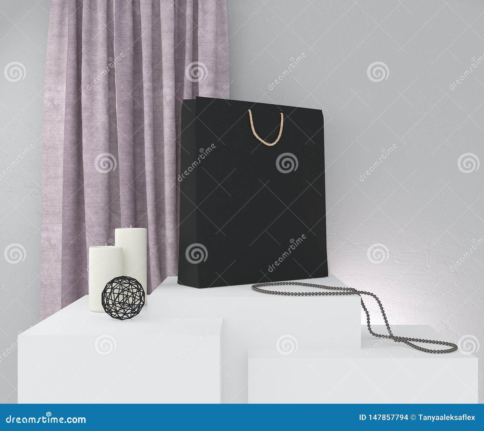 La composition avec le sac de papier noir, a mont? rideau, bougies et d?cor sur le mur gris rendu 3d