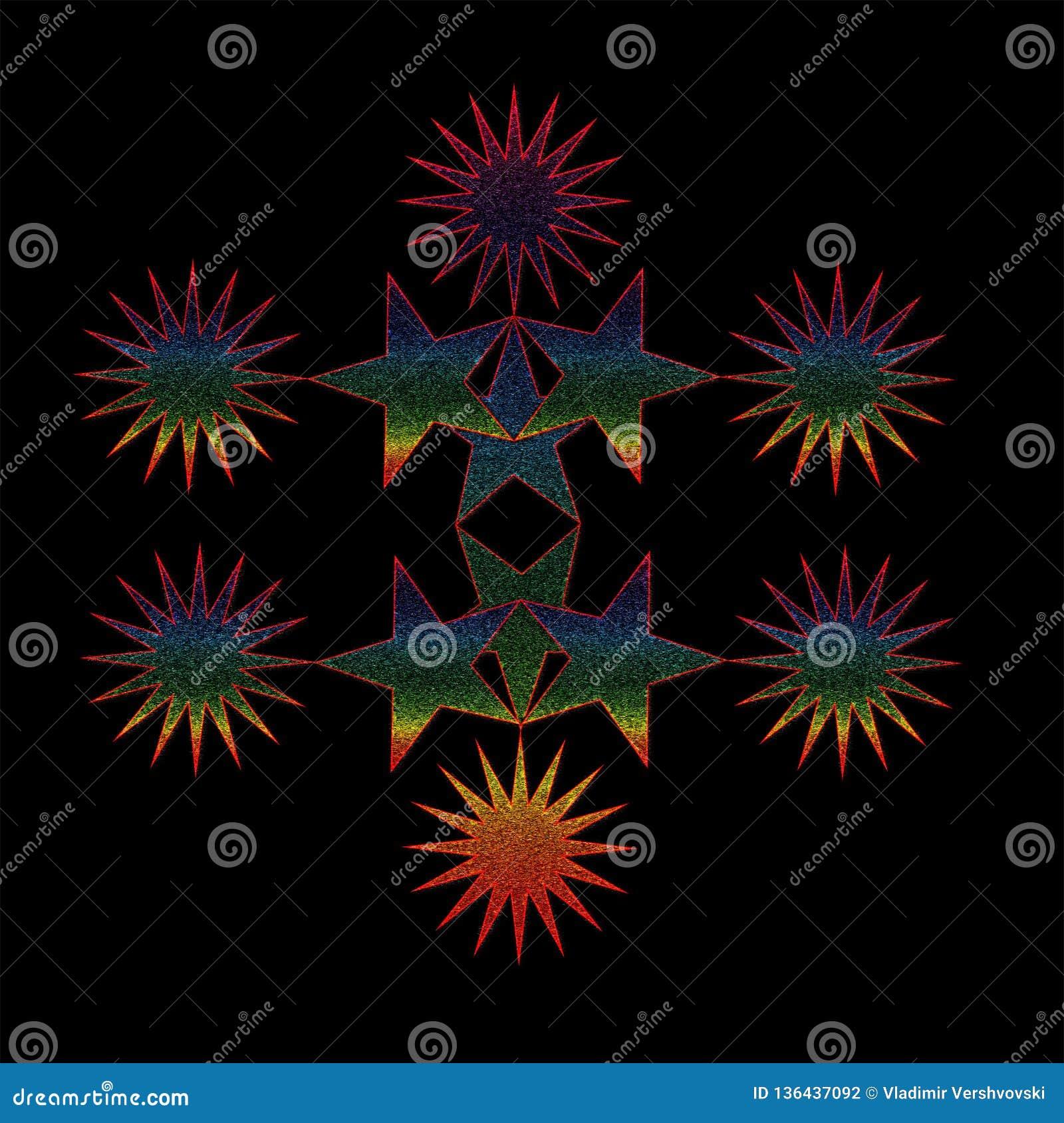 La composition des étoiles colorées