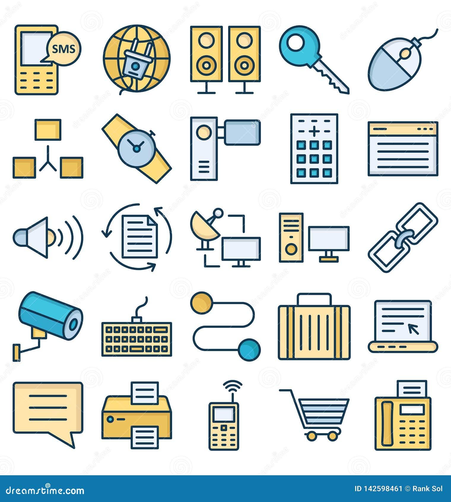 La comunicación y los dispositivos de Digitaces aislaron el sistema de los iconos del vector que puede ser modificado o corregir