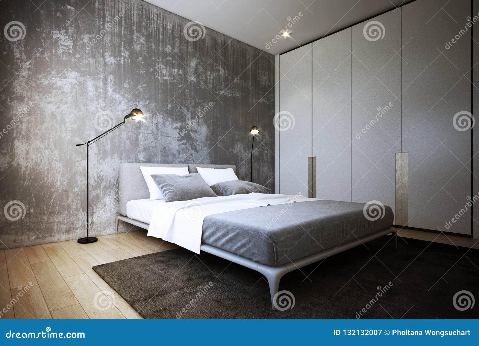 La Conception De Chambre à Coucher, Intérieur De Style Industriel, 3d  Rendu, Conception De Lu0027illustration 3d