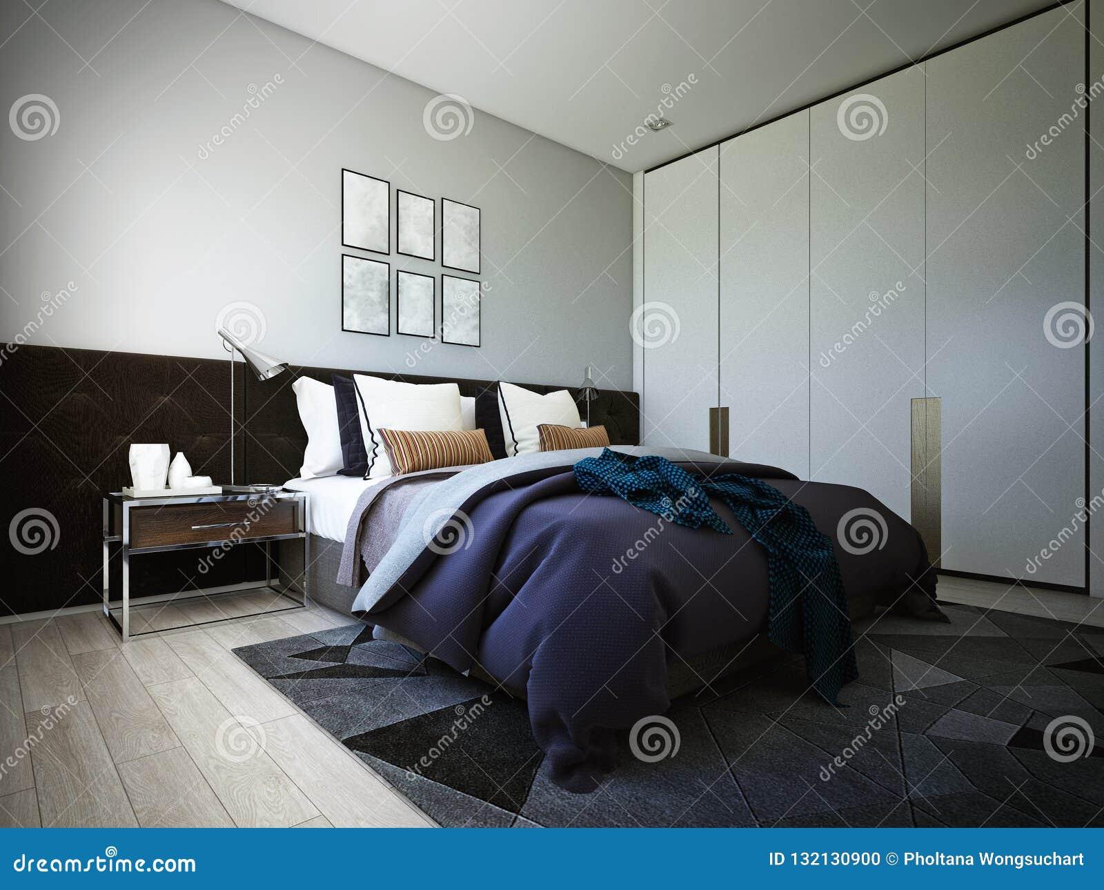 La conception de chambre à coucher, intérieur de style moderne confortable, 3d rendu, illustration 3d
