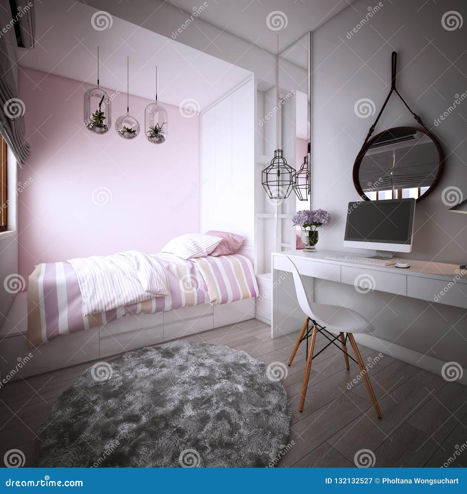 La Conception De Chambre à Coucher Pour La Fille, Intérieur De Style ...