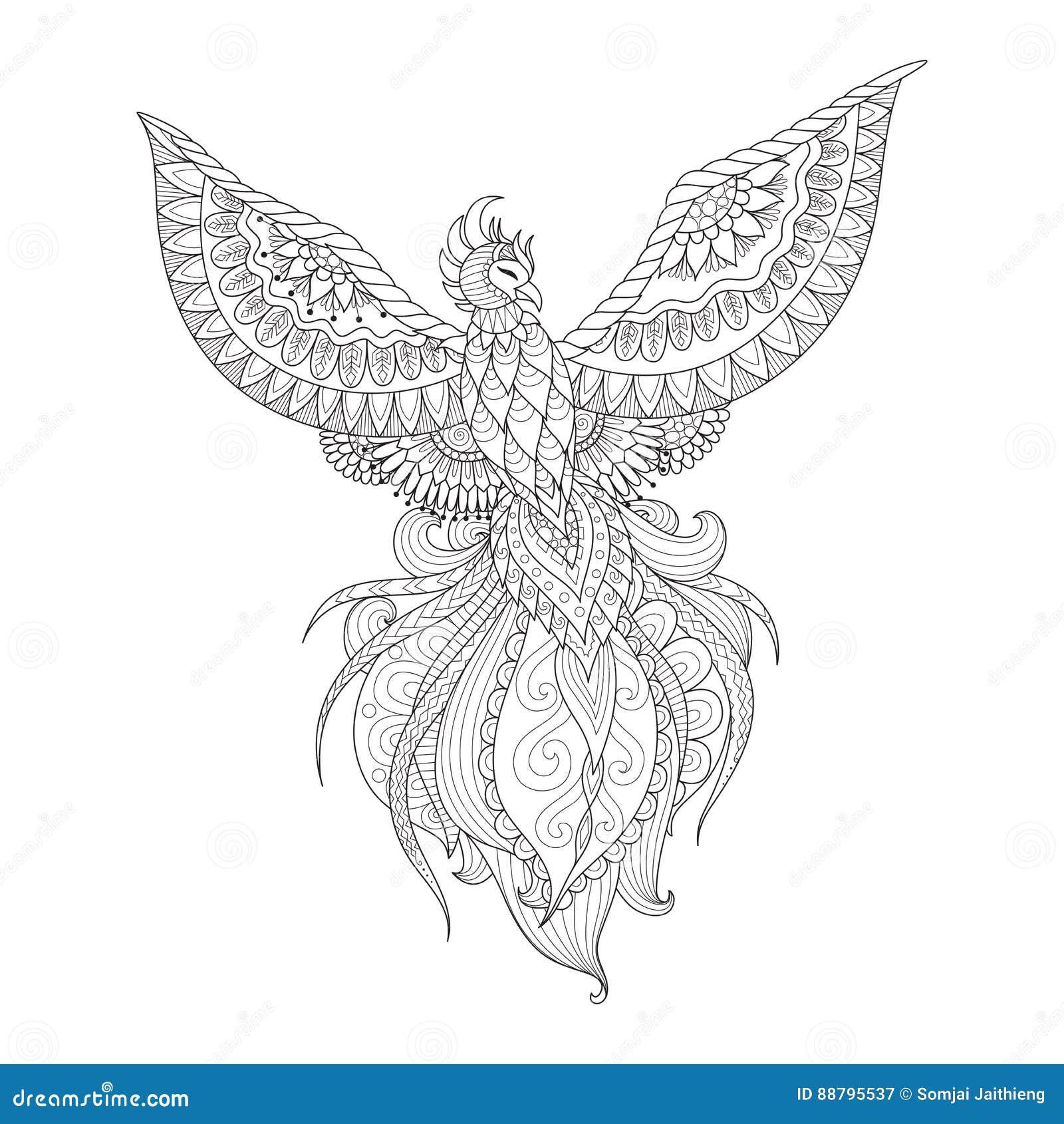 La Conception De Zendoodle De L Oiseau De Phoenix Pour Le